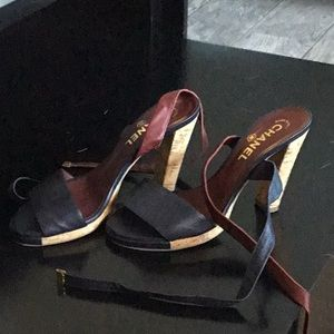 Chanel navy & maroon cork heel sandals